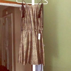 Metallic a line dress with scallop detail
